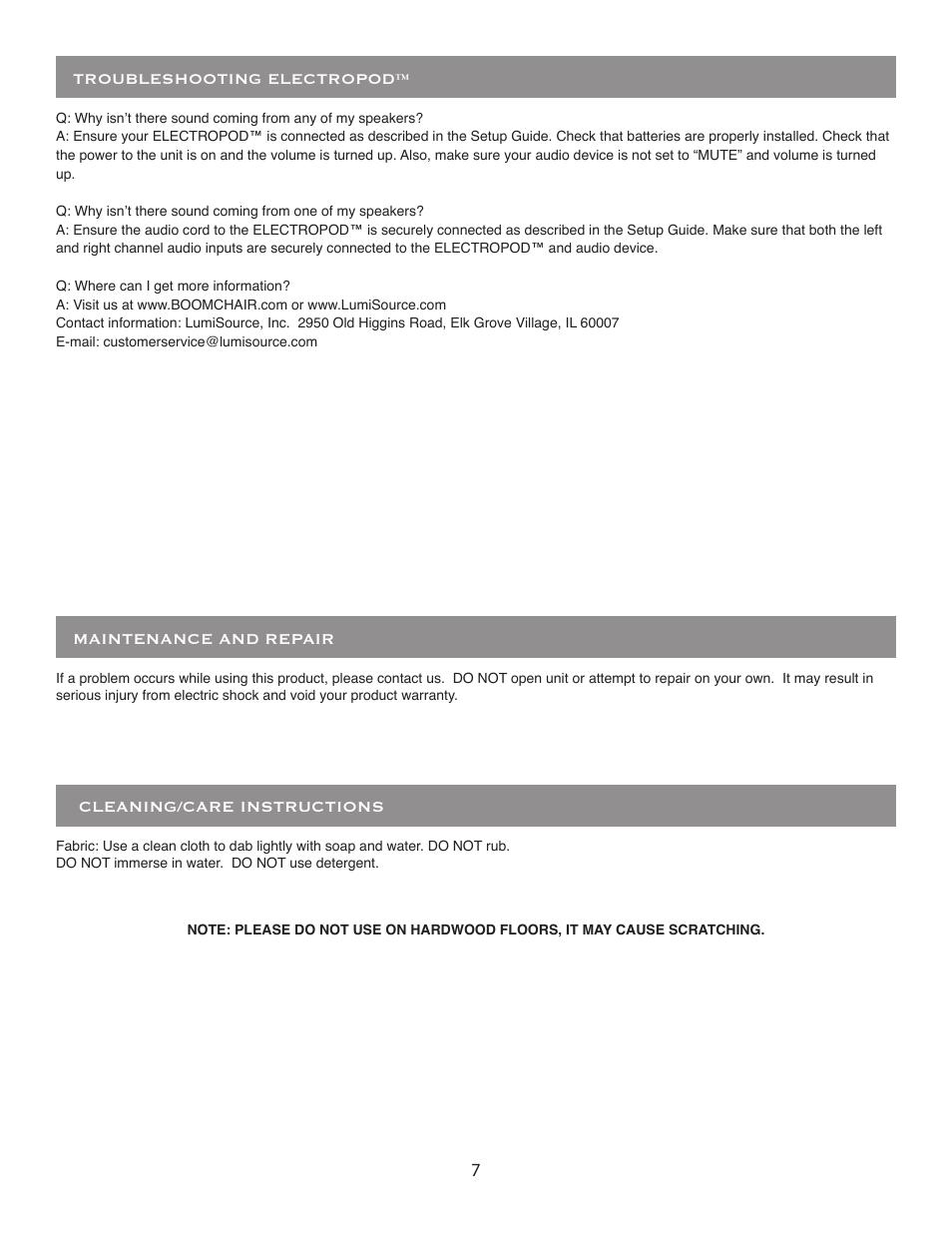 BoomChair ElectroPod User Manual | Page 7 / 8 | Original mode