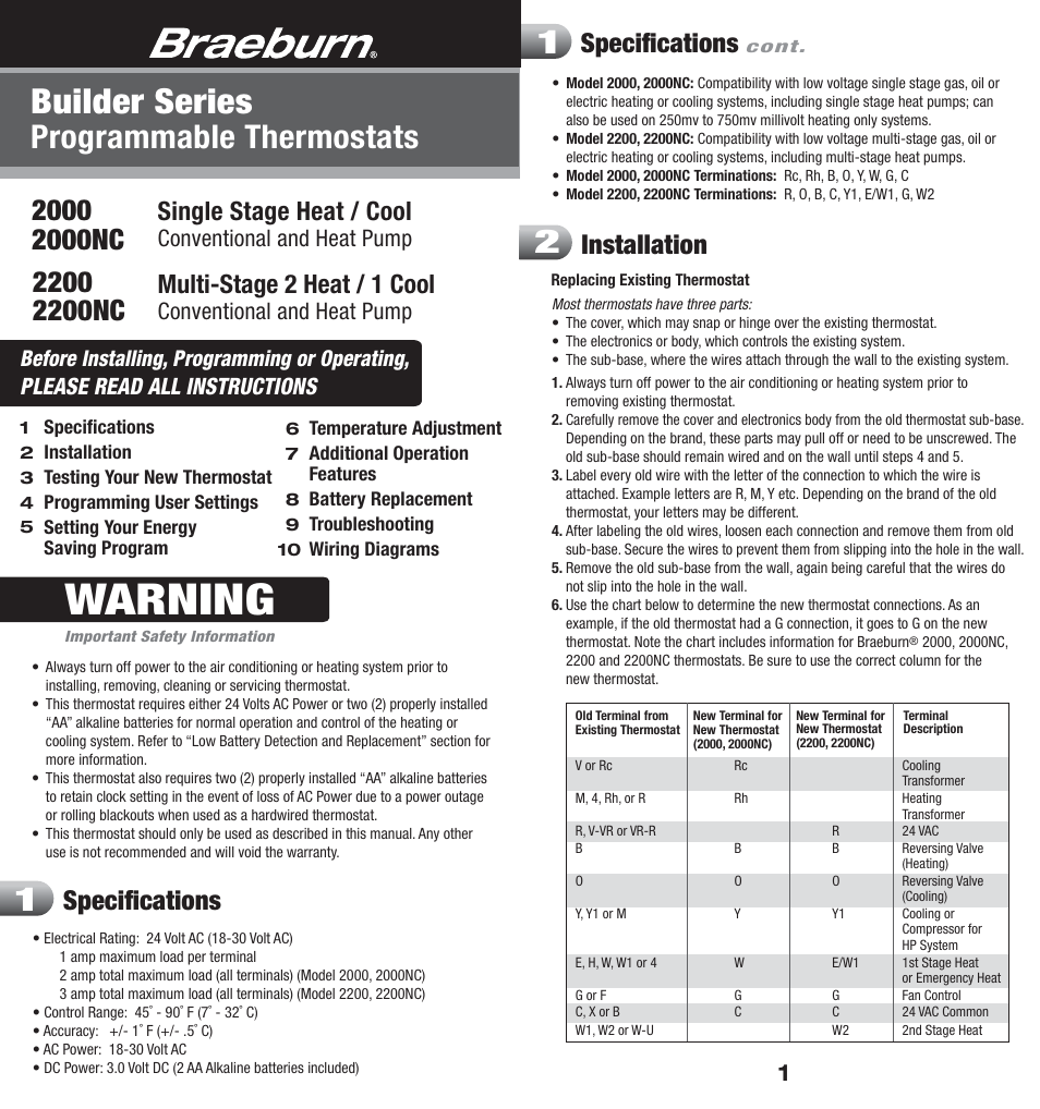 Braeburn 2200 User Manual 9 Pages Also For 2000 Series Thermostat Heat And Cool 2 Transformers