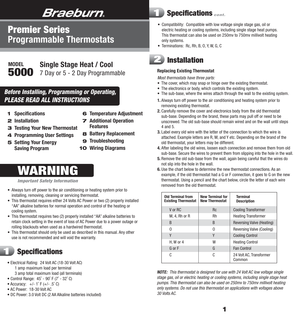 Braeburn 5000 User Manual 9 Pages Heat Pump Reversing Valve Wiring Diagram