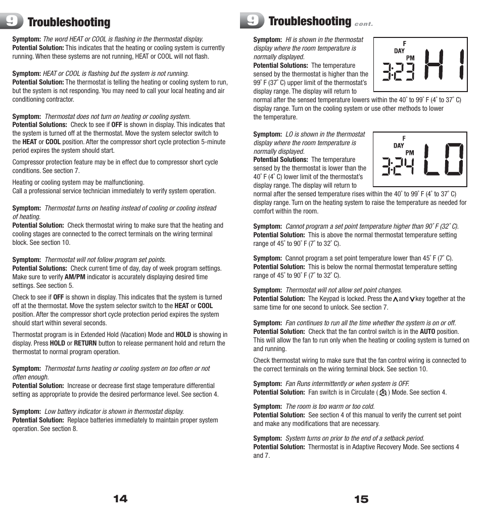 Troubleshooting Braeburn 5000 User Manual Page 8 9 Typical Thermostat Wiring