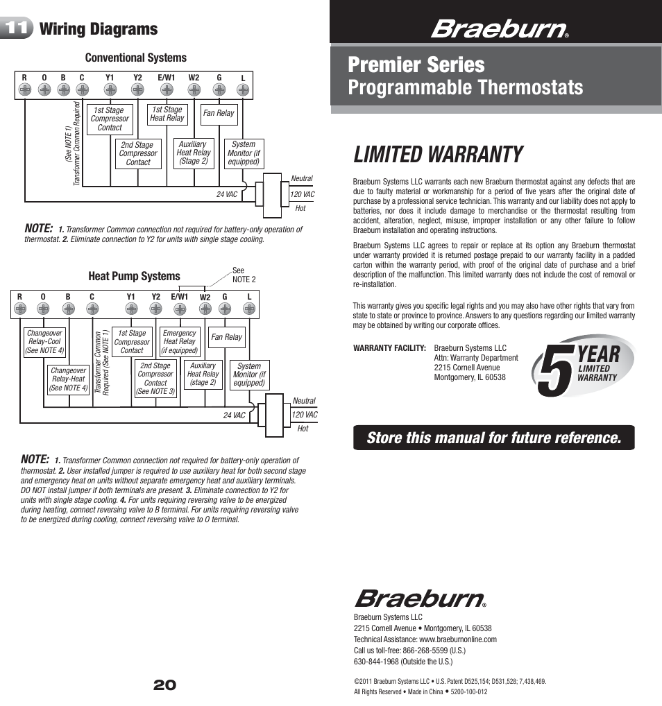 Braeburn Thermostat Wiring Diagram Radio Honeywell Rth2510 5200 20 Warranty Limited Year User Manual Rh Manualsdir Com 3220 4 Wire