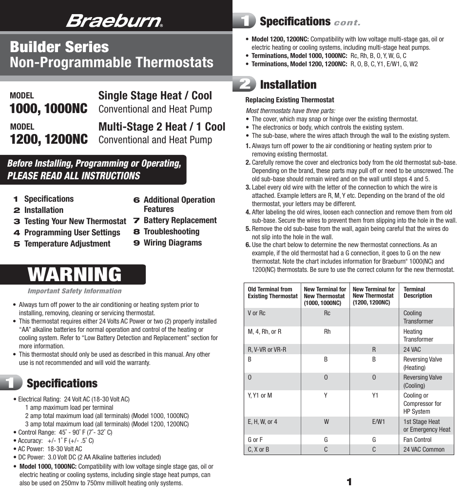 Braeburn 1200 User Manual