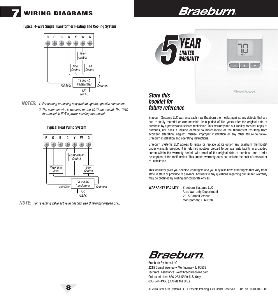 Braeburn Thermostat Wiring Diagram Guide And Troubleshooting Of Luxpro 1010 8 Bck Pdf Store This Booklet For Future Reference Rh Manualsdir Com 1020