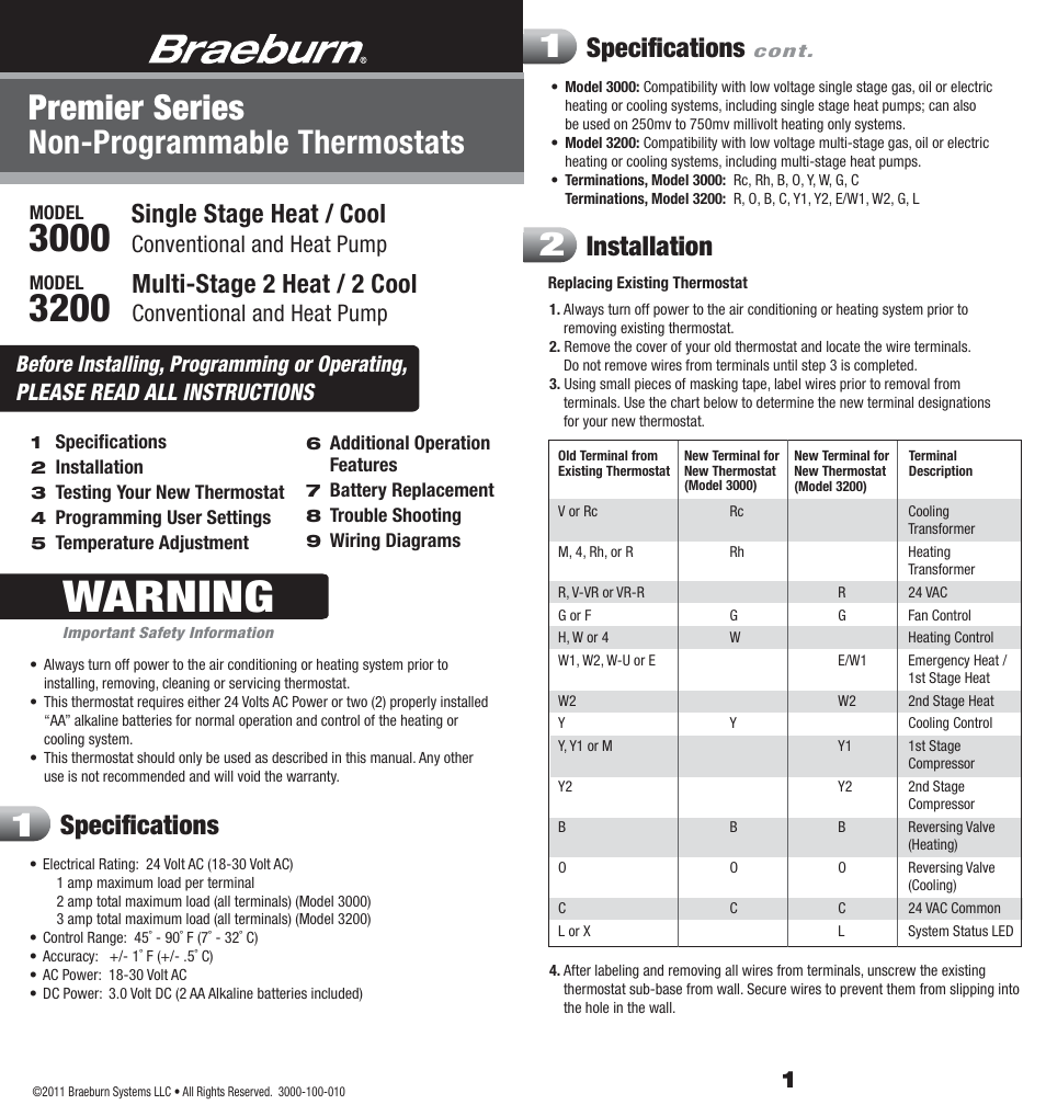 Braeburn 3200 User Manual 7 Pages Also For 3000 3 Battery 24 Volt Wiring Diagram