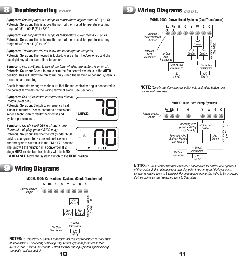 Troubleshooting, Wiring diagrams | Braeburn 3200 User Manual | Page 6 / 7