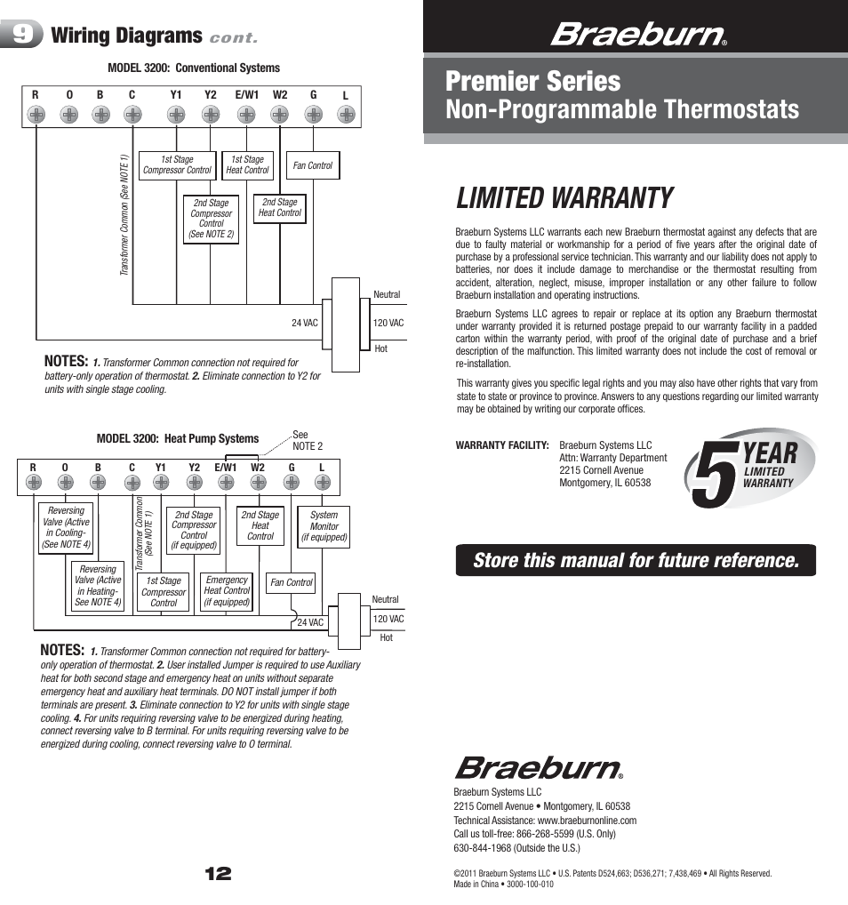 Braeburn Thermostat Wiring Diagram Guide And Troubleshooting Of Luxpro 3000 12 Warranty Limited Year 3200 User Manual Rh Manualsdir Com 1020
