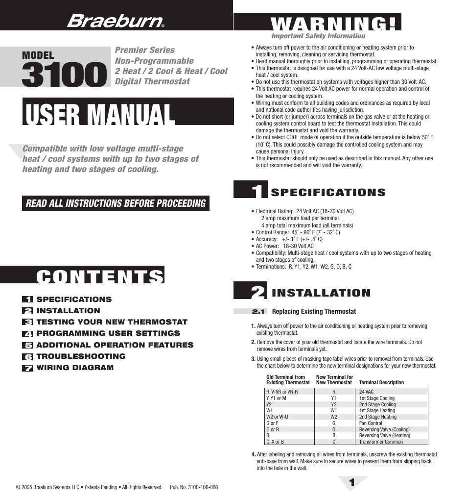 Braeburn 3100 User Manual 6 Pages Old Air Wiring Diagram