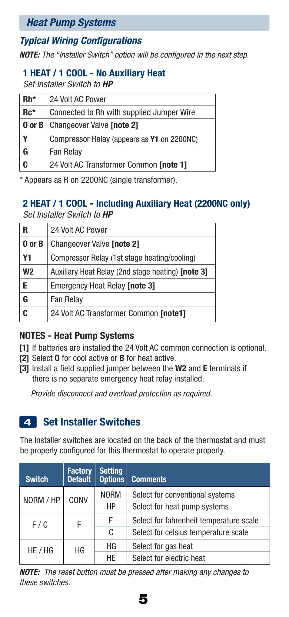 Set Installer Switches Heat Pump Systems Braeburn 2200nc User Electric Heater Relay Wiring Manual Page 6 13