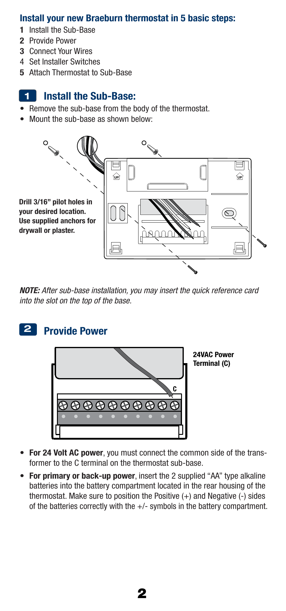 Install The Sub Base Provide Power Braeburn 1220nc User Manual 4 Battery 24 Volt Wiring Diagram Page 3 10