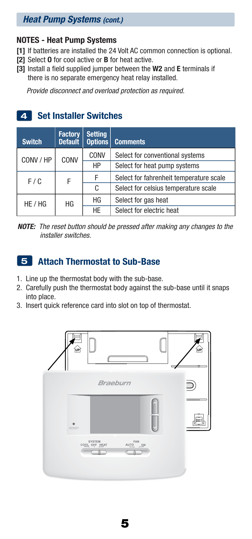 heat pump systems, set installer switches, attach thermostat to sub-base |  braeburn 1220nc user manual | page 6 / 10