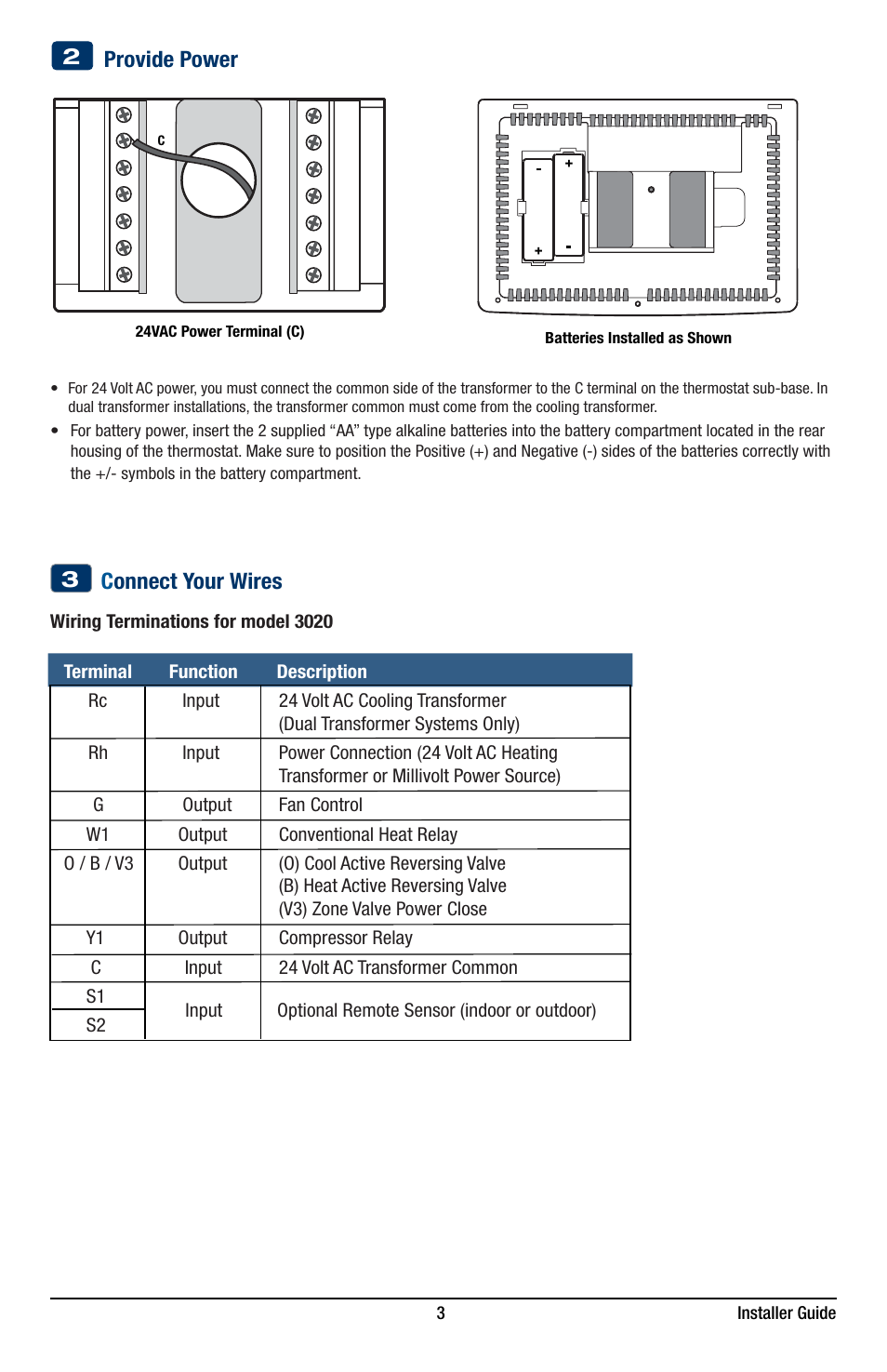 Provide Power C Onnect Your Wires 3 Braeburn 3220 Installer Guide Ac Transformer Wiring User Manual Page 13