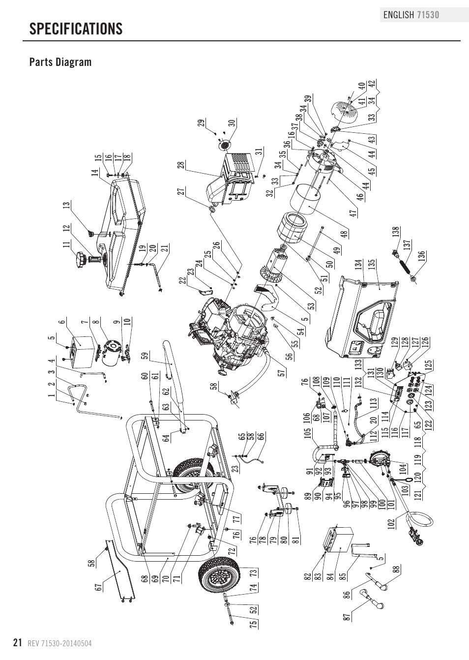 Specifications Parts Diagram Champion Power Equipment 71530 User