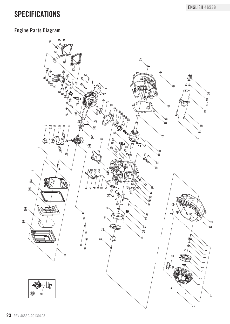 Specifications  Engine Parts Diagram