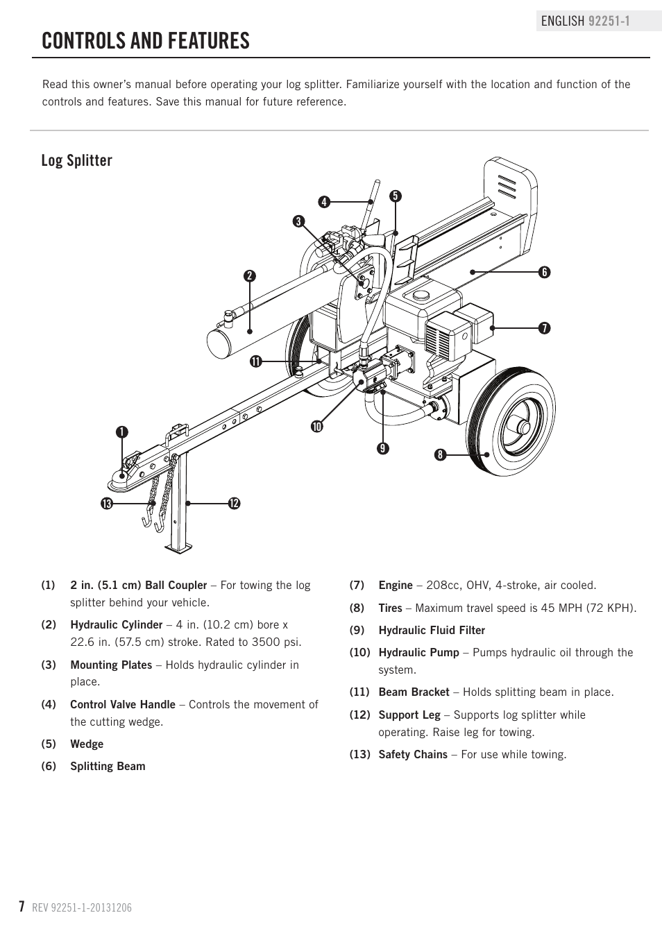 Controls And Features Log Splitter Champion Power Equipment 92251 8 Cylinder Ohv Engine Diagram 1 User Manual Page 10 31