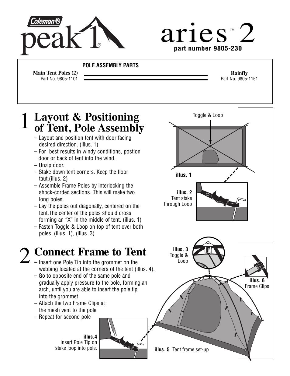 sc 1 st  manualsdir.com & Coleman Peak 1 9805-230 User Manual | 2 pages