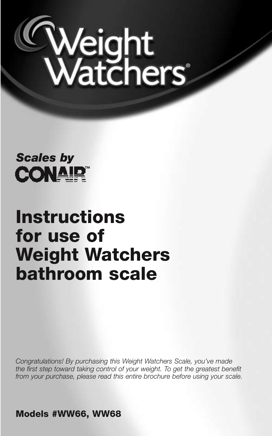 Conair Weight Watchers Bathroom Scale Ww66 User Manual 12 Pages