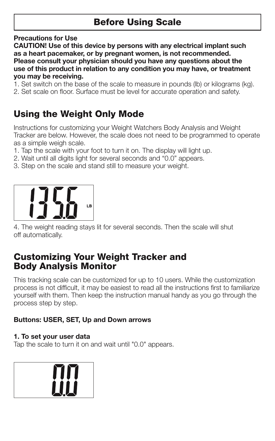 Before Using Scale Using The Weight Only Mode Conair Weight Watchers Bathroom Scale Ww66 User Manual Page 8 12