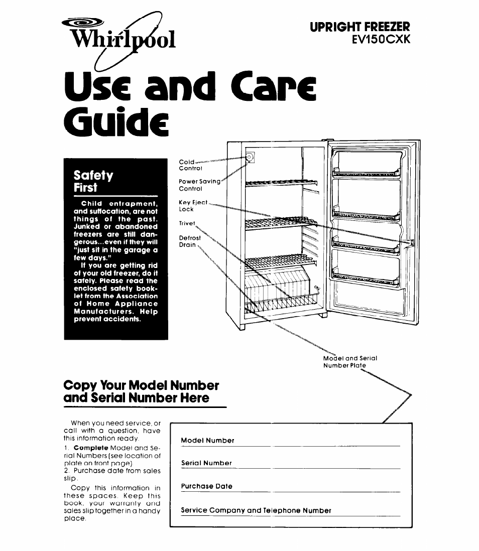 Whirlpool Refrigerator Schematic Diagram Drain Wiring Ev15ocxk User Manual 8 Pages