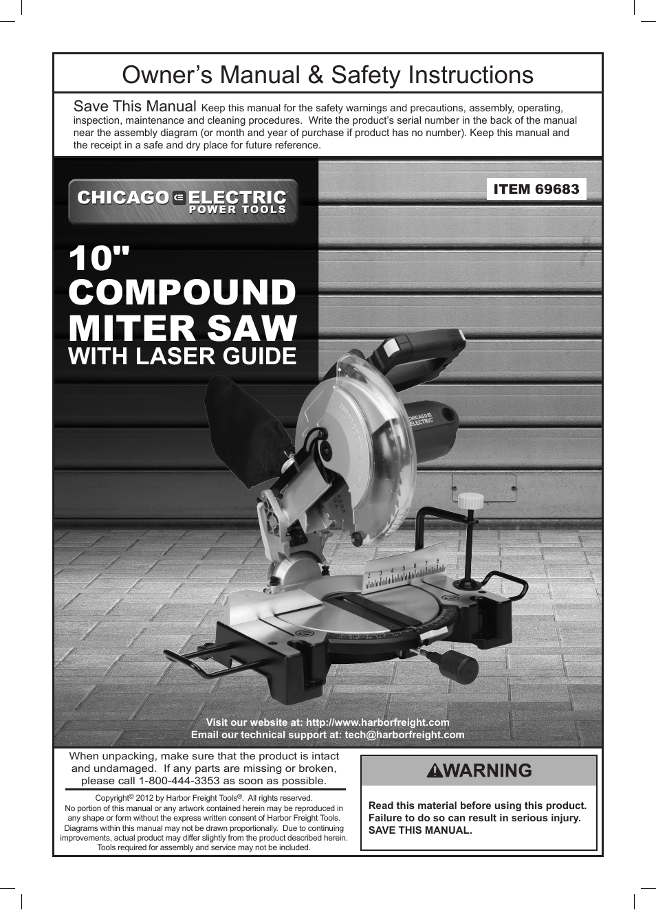 Chicago       Electric    10  Compound Miter Saw with Laser Guide 69683 User Manual   20 pages