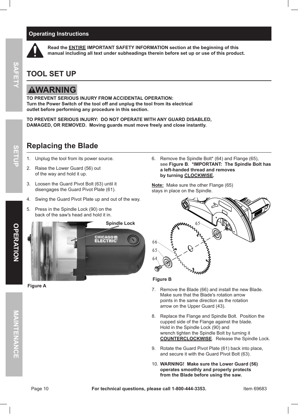 Tool set up replacing the blade safety opera tion maintenance tool set up replacing the blade safety opera tion maintenance setup chicago electric 10 compound miter saw with laser guide 69683 user manual page 10 greentooth Choice Image