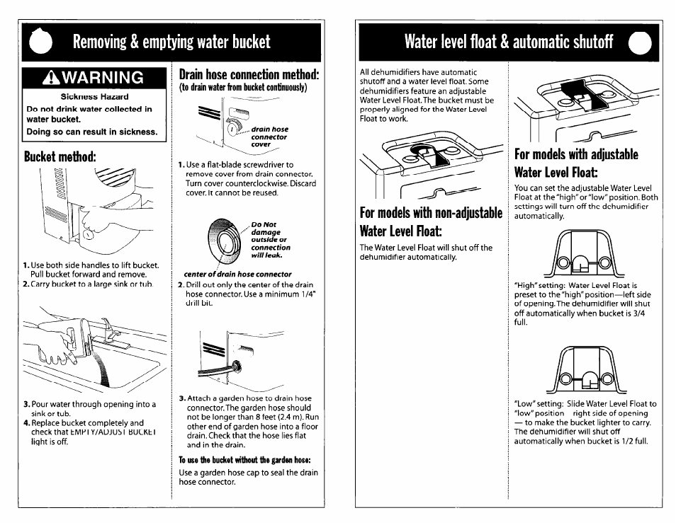Removing & emptying water bucket, Warning, Bucket method