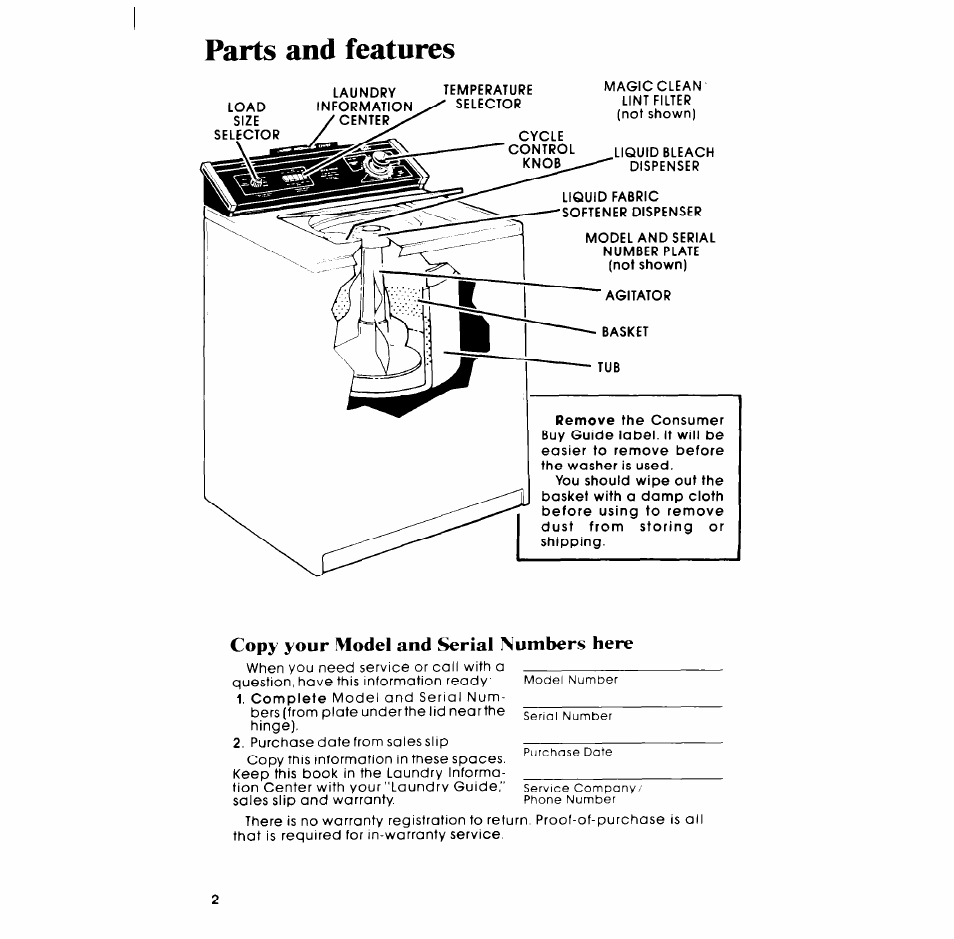 Copy Your Model And Serial Numbers Here Parts And
