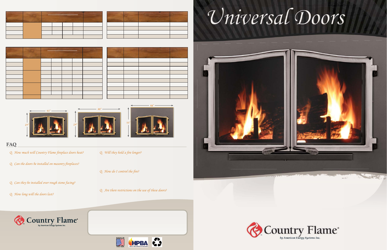 Country Flame Universal Doors 400 Series User Manual 4 Pages