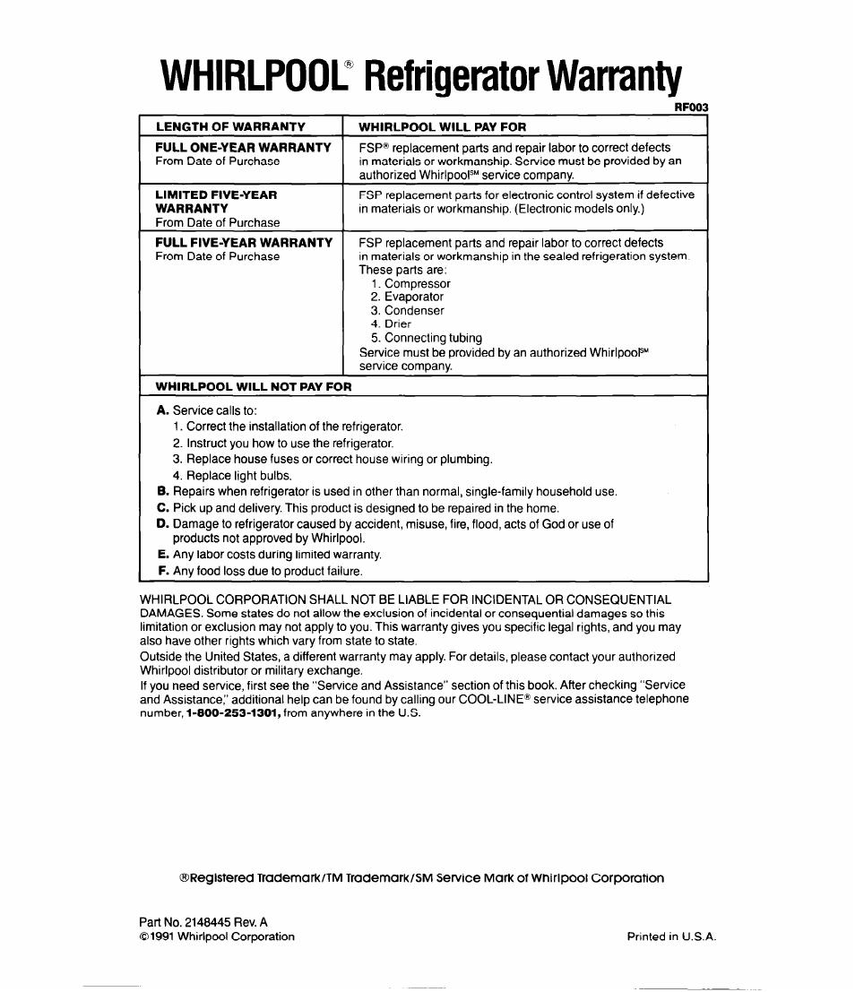 Refrigerator Warranty Whirlpool Image Parts Diagram On Compressor Nabateans