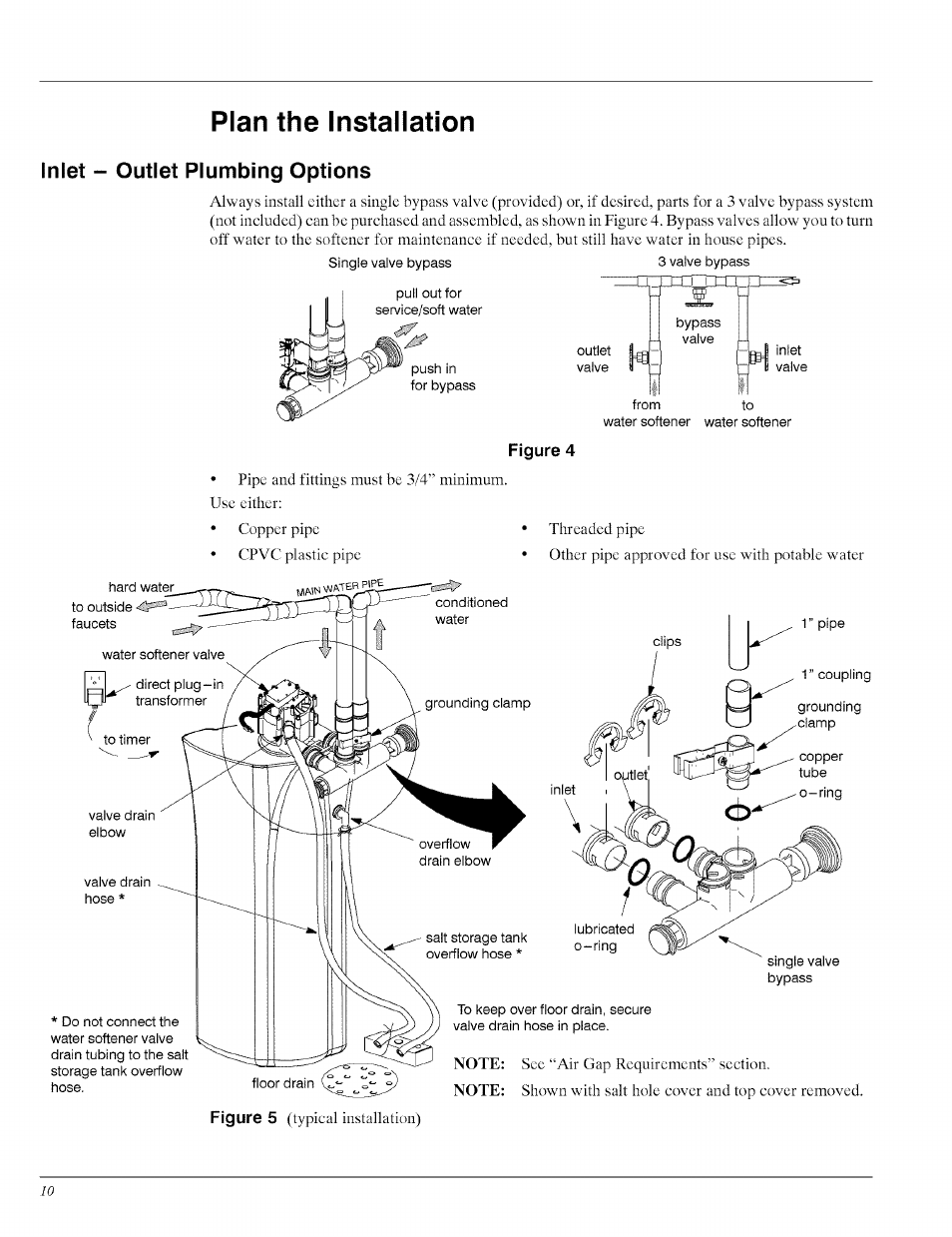 Inlet - outlet plumbing options, Plan the installation | Whirlpool ...