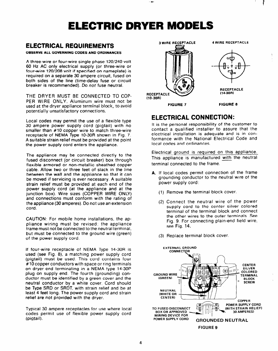 Electric Dryer Models Electrical Requirements Clothes Wiring To Breaker Connection Whirlpool User Manual Page 4 8