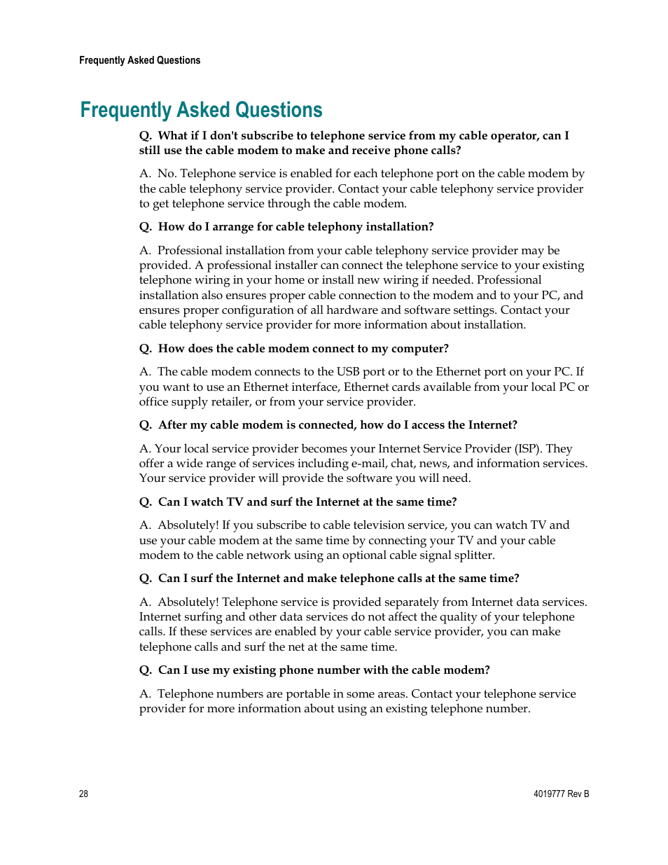 Frequently asked questions | Cisco DPQ3212 User Manual