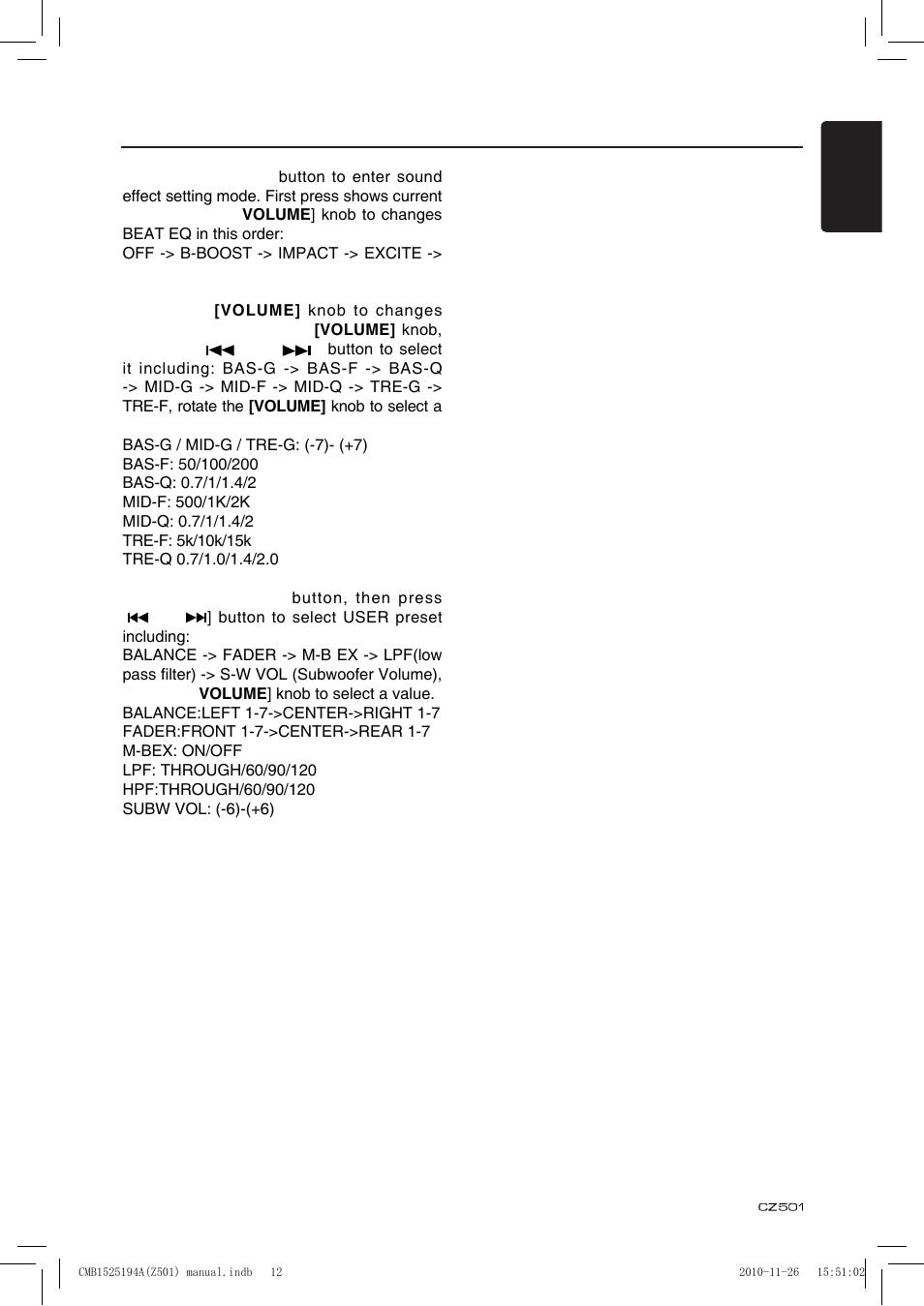 audio setup clarion cz501 user manual page 13 34 rh manualsdir com clarion cx501 user manual Clarion CX501