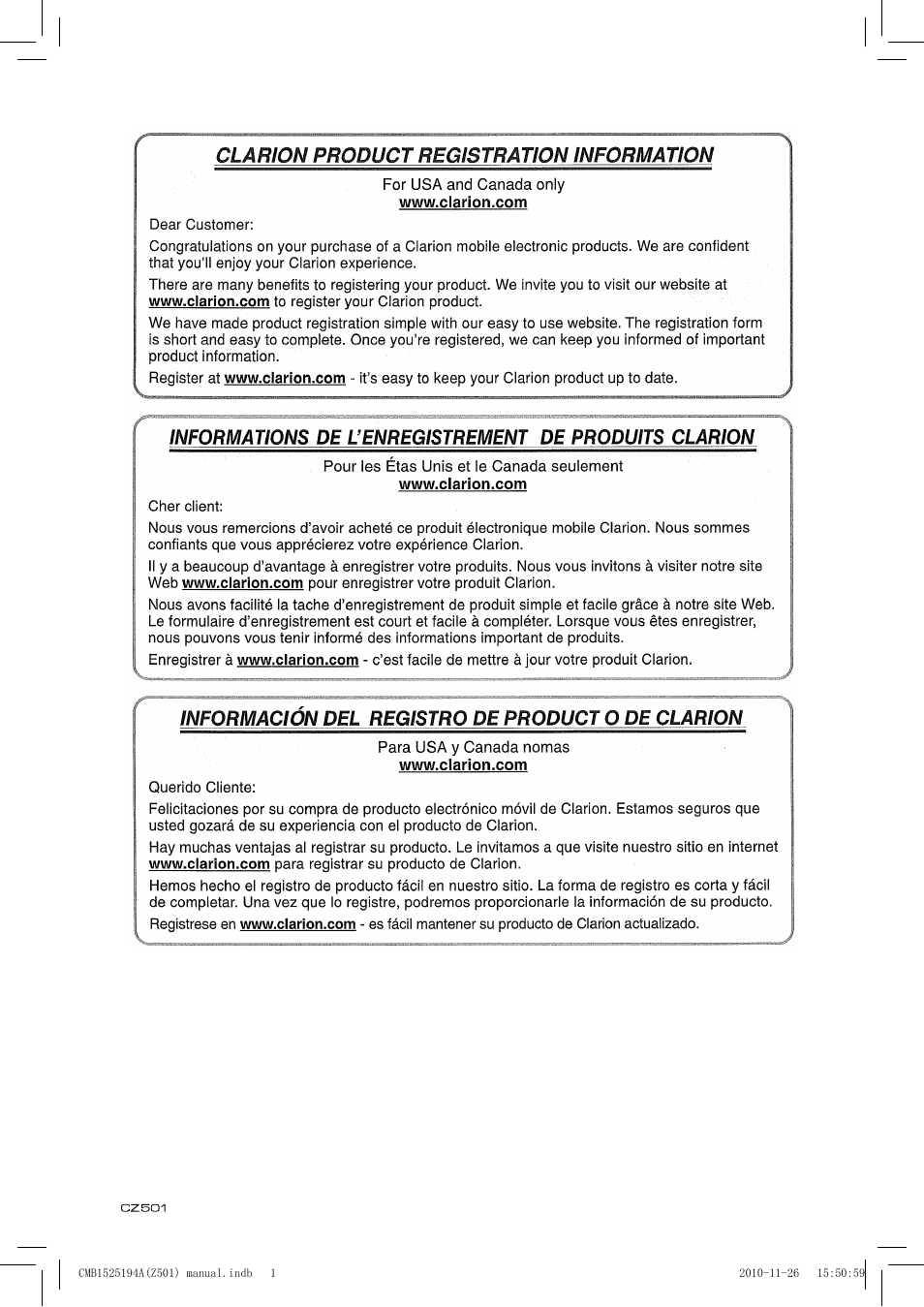 english clarion cz501 user manual page 2 34 rh manualsdir com Clarion CZ302 Clarion CZ302