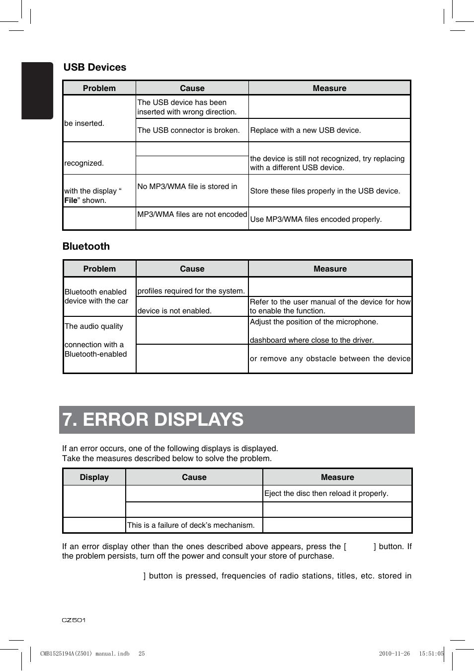 error displays usb devices bluetooth clarion cz501 user manual rh manualsdir com Clarion Car Stereo Clarion CMD5