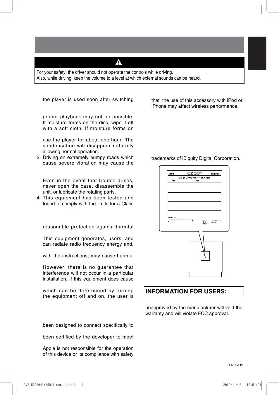 precautions information for users english clarion cz501 user rh manualsdir com Clarion CX501 Clarion CMD5