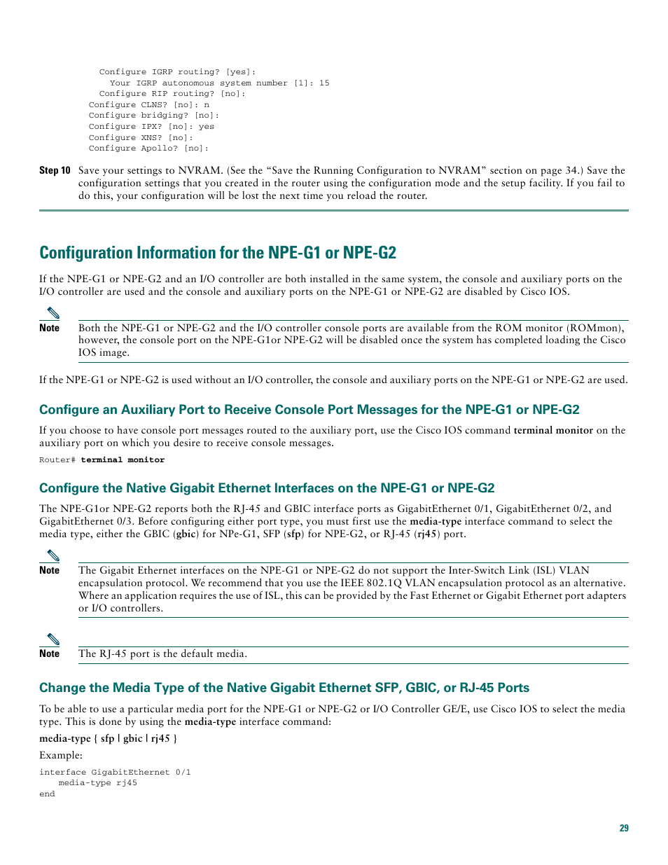 Configuration information for the npe-g1 or npe-g2 | Cisco 7200 VXR