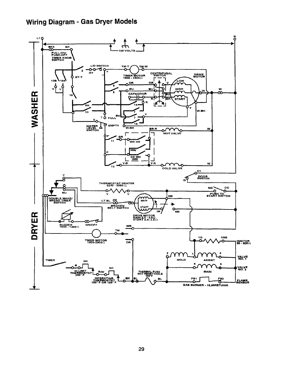 Wiring diagram - gas dryer models | Whirlpool Thin Twin User Manual | Page  36 / 40Manuals Directory