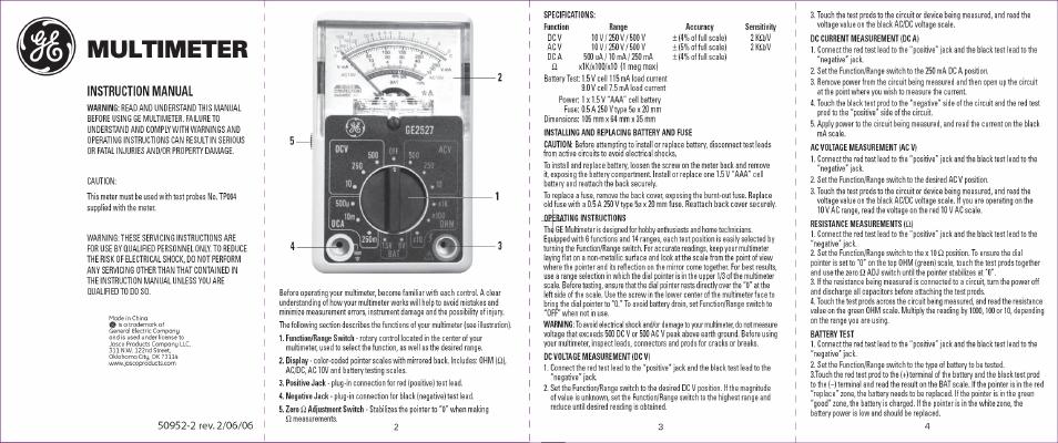 Ge 50952 14-range 6-function analog multimeter walmart. Com.