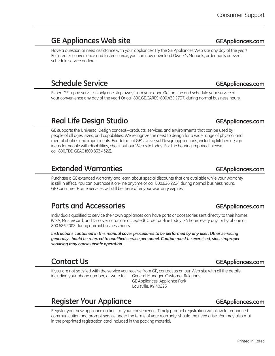 Consumer support, Ge appliances web site, Schedule service