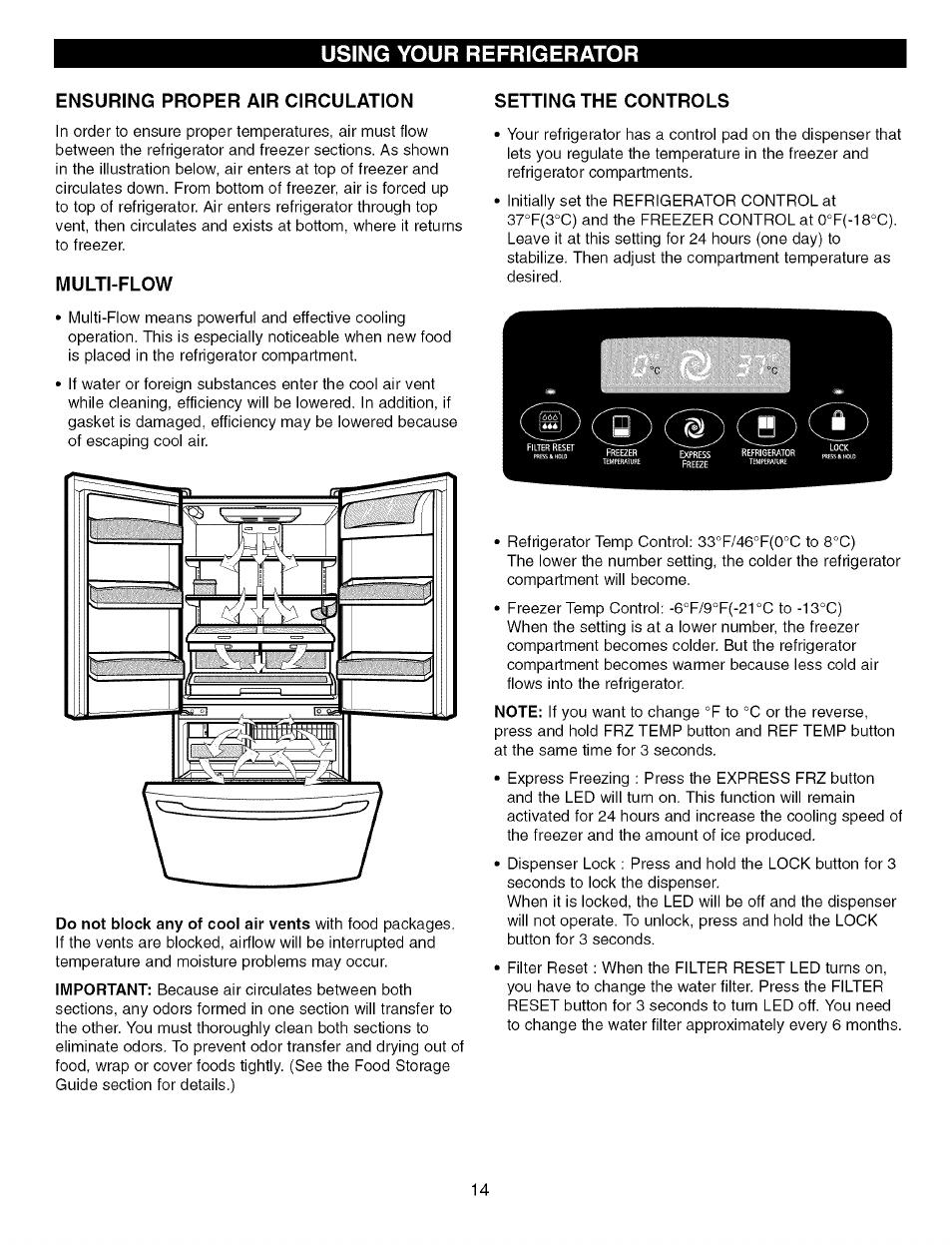 Ensuring proper air circulation, Multi-flow, Setting the controls