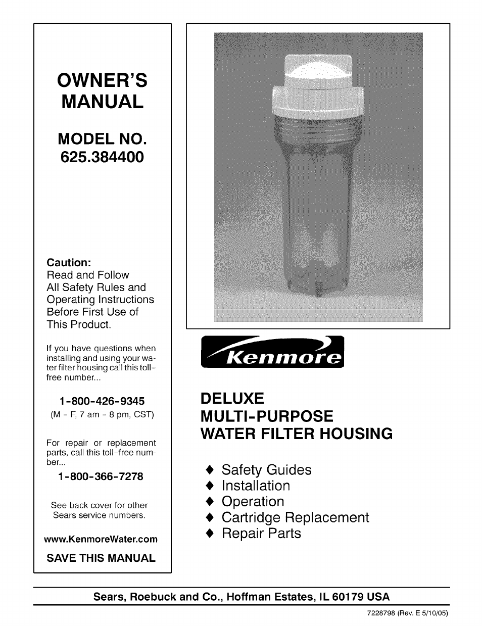 Kenmore DELUXE 625.3844 User Manual | 12 pages