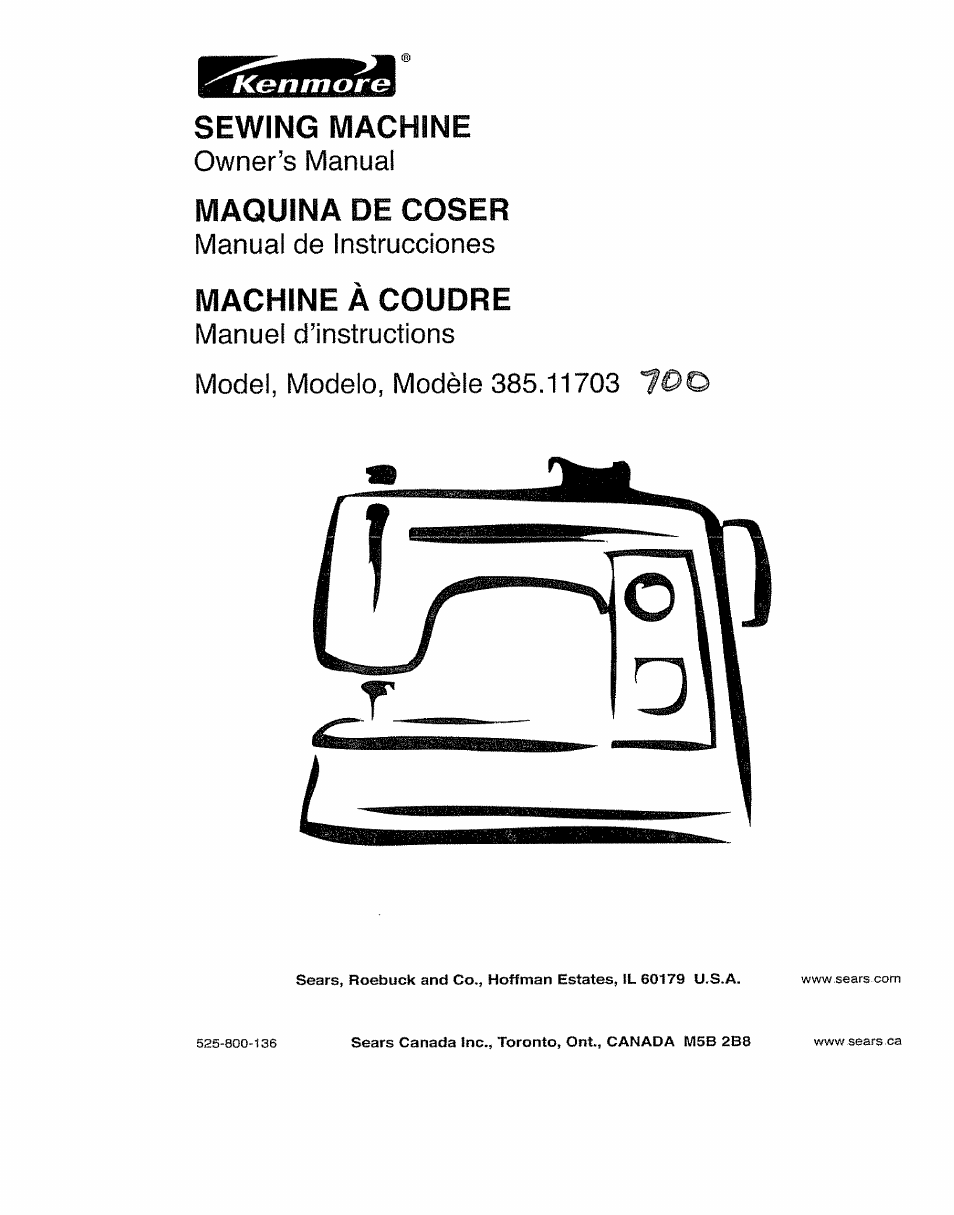 Kenmore Sewing Machine Model 385 Parts Canada Photos And Diagram 11703 User Manual 41 Pages Sears