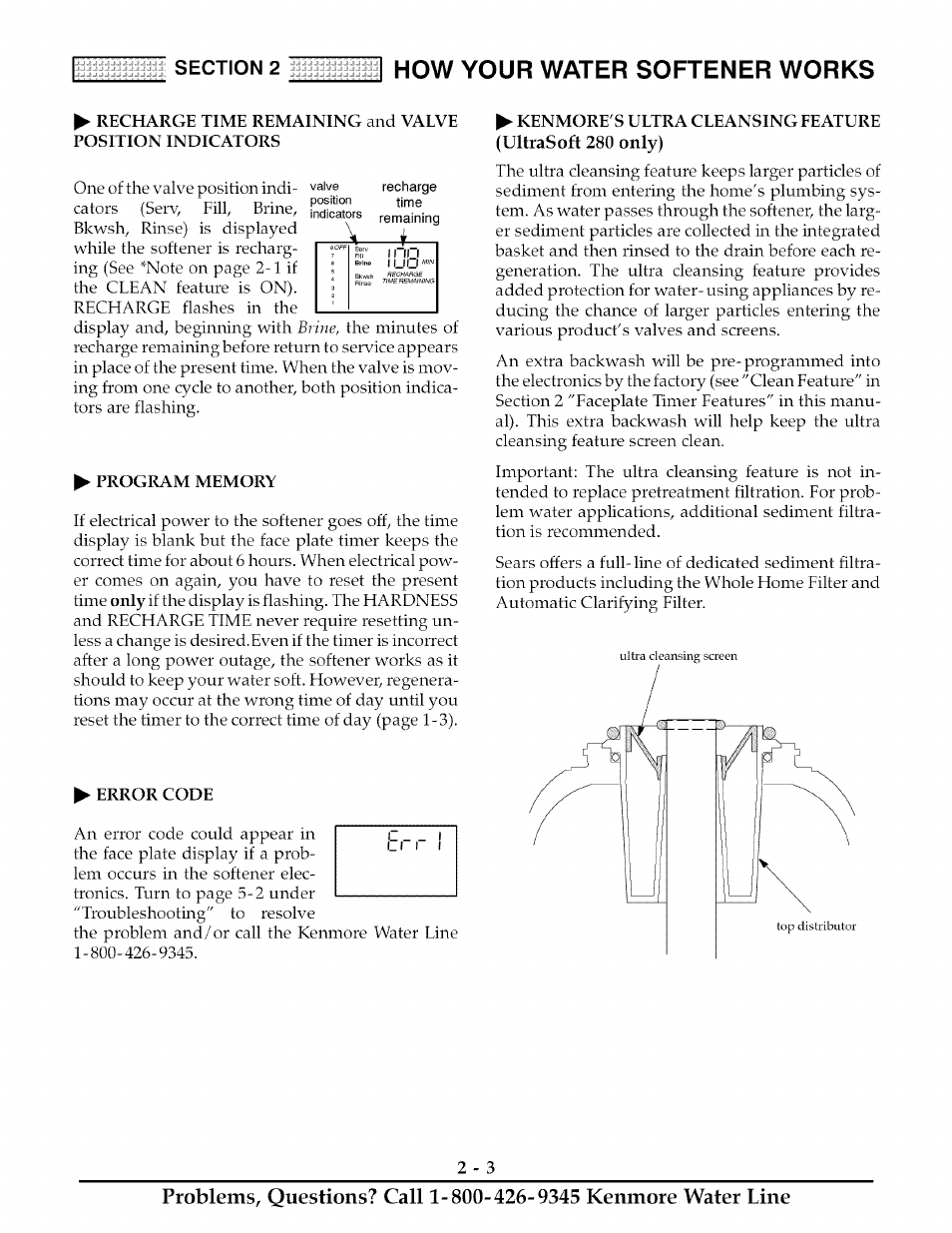 Program Memory Error Code How Your Water Softener Works Kenmore Ultrasoft 280 User