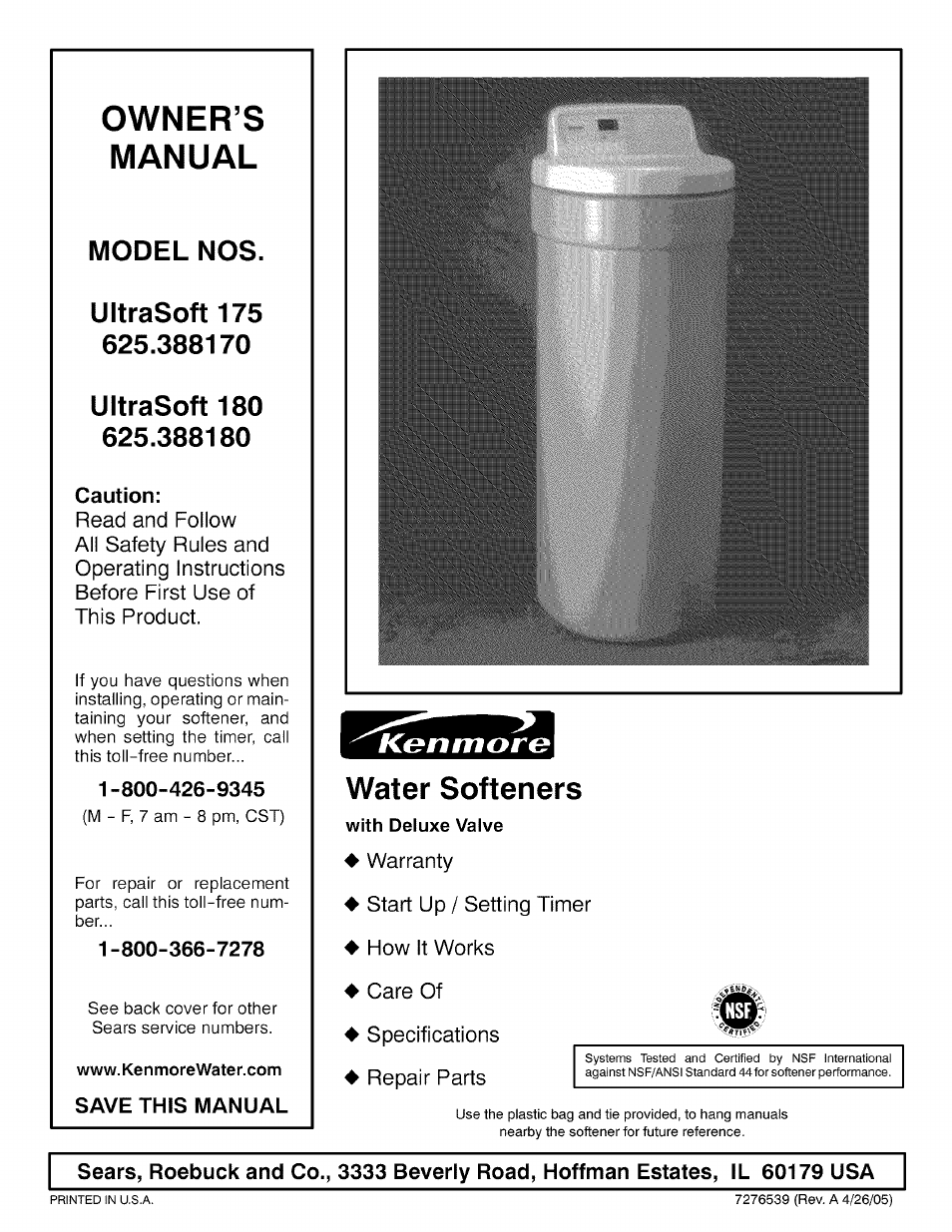 Kenmore 300 series water softener owners manual.