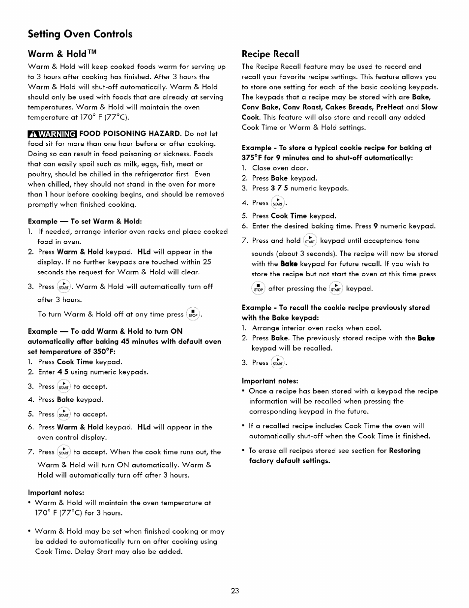 Warm & hold, Recipe recall, Setting oven controls | Kenmore