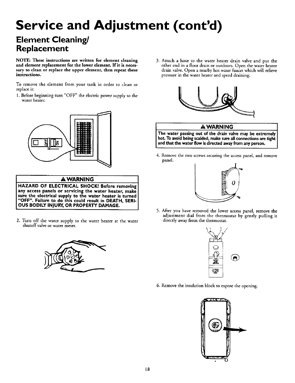 Kenmore Power Miser 12 Electric Hot Water Heater Manual Nemetas Wiring Diagram 8 Element Cleaning Replacement Awarning Service And Adjustment Contd