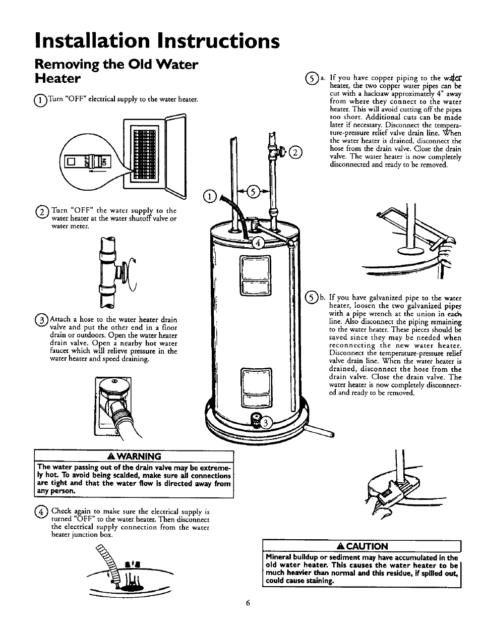 Removing the old water heater, A warning, A caution | Installation  instructions | Kenmore