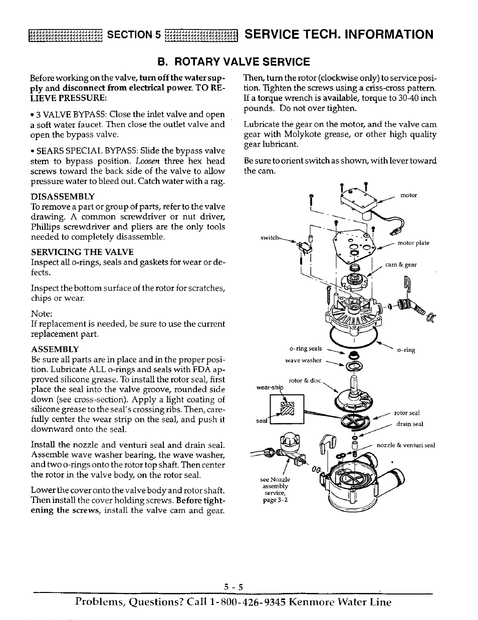 Service tech. information, B. rotary valve service | Kenmore ULTRASOFT 250  625.38826 User