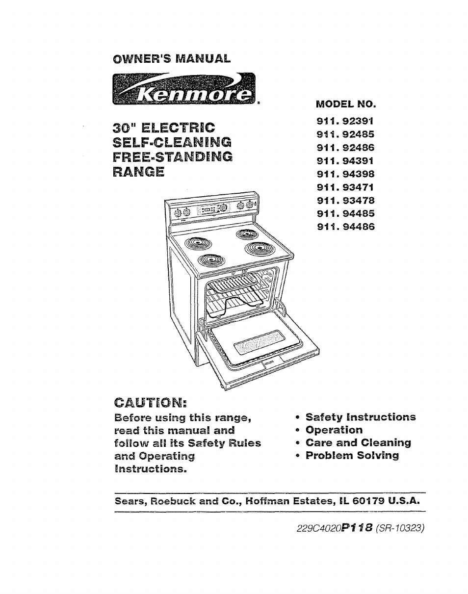 Kenmore 911.92485 User Manual | 28 pages | Also for: 911.92486, 911.92391,  911.94485, 911.94486, 911.94391, 911.93478, 911.93471, 911.94398