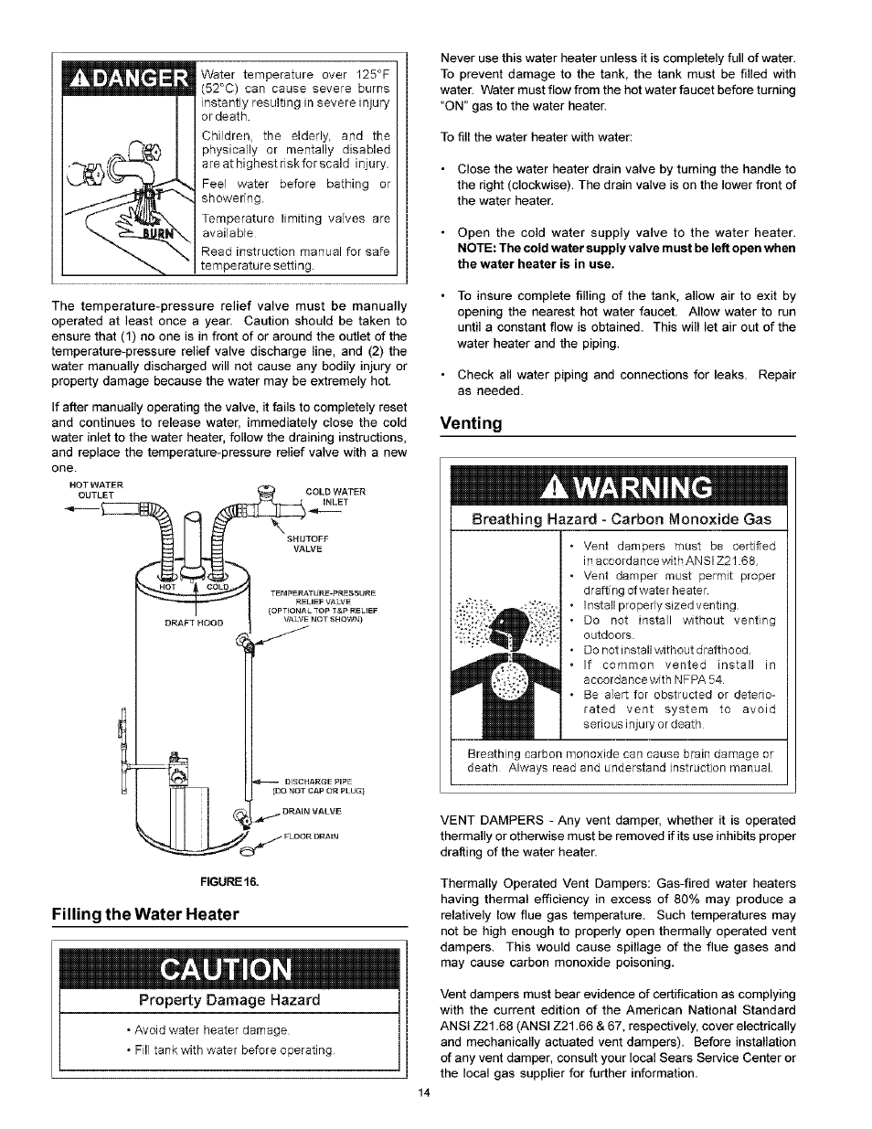 Filling the water heater, Venting, Caution | Adanger, Warning | Kenmore  POWER MISER